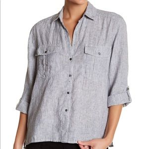 Standard James Perse Striped Button Up Linen Shirt